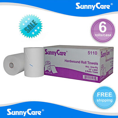 """SunnyCare® #5110 White 10""""  Paper Towel Rolls 800' Roll - 6 / Case"""