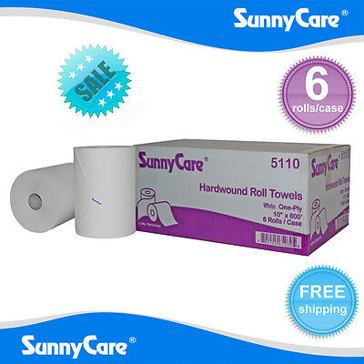 """SunnyCare® #5110 White 10"""" Touchless Paper Towel Rolls 800' Roll - 6 / Case"""
