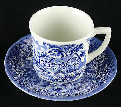 J & G Meakin MERRIE ENGLAND Blue White Cup & Saucer Set