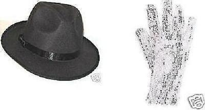 2 MICHAEL JACKSON SEQUIN GLOVES +  2 FEDORA HATS Billie Jean Free Shipping