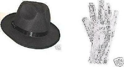 8 MICHAEL JACKSON SEQUIN GLOVES +  8 FEDORA HATS Billie Jean Free Shipping