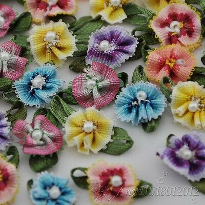 100x Ribbon Flowers With Bead Sewing Appliques Craft DIY Wedding Decor A146
