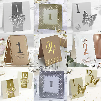 TABLE NUMBERS 1 to 12 - Freestanding Double Sided Tentfold Cards - Wedding/Party