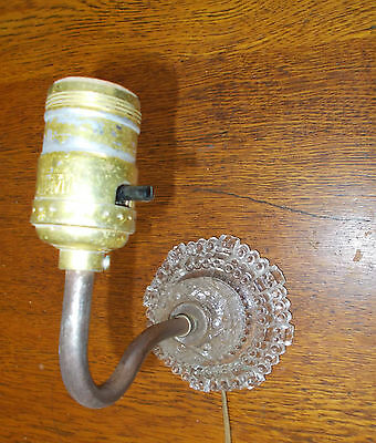 Vintage glass wall sconce light  ...2pc glass mount