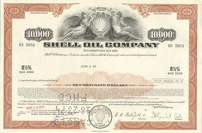 Shell Oil Company   $10,000 bond certificate share oil & gas scripophily