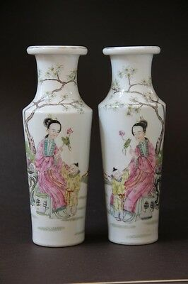 A pair of rare seen early 20th century colorful vases  #006