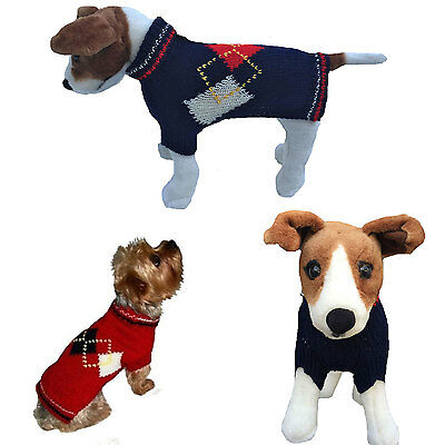 Dog Clothes Red White Blue Sweater Coat for Dog Dogs Puppy Dallas Dogs Hand Knit