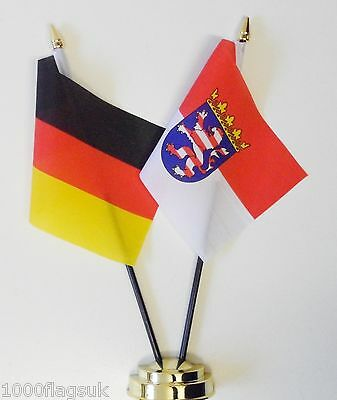 Germany Federal & Germany Hesse State Double Friendship Table Flag Set