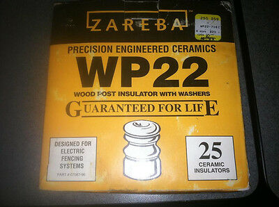 Zareba Cermaic Wood Post Insulator with Washer Box (24) Lot NIB
