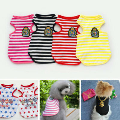 Summer British Various Love Stripe Pet Puppy Small Dog Cat Clothes Vest Apparel
