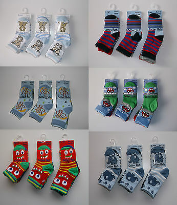 3 pairs Baby boys socks 0 6 12 24 months shoe size 0-0 0-2.5 3-5.5 animals dinos