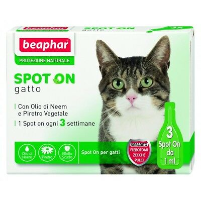 Beaphar Spot on Gatto Antiparassitario Naturale 3 fiale per Gatto