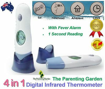 Digital Baby Thermometer 4-in-1 Infrared Ear Forehead Object Ambient Clock