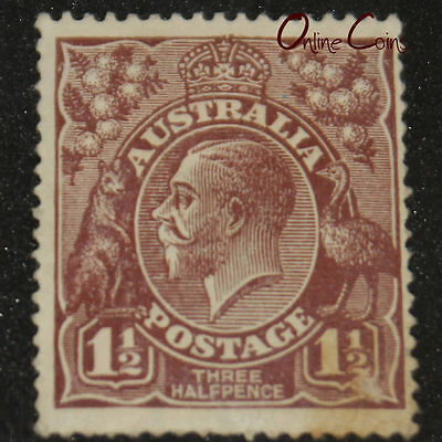 "1913-1936 King George V 1 1/2d Red ""Topped Crown"" Variation - MLH"