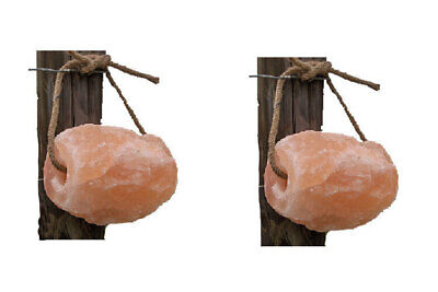 Minrosa Himalayan Mineral Salt lick on rope horse pony goat sheep cattle 2x1kg