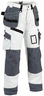 Blaklader White Painters Knee Pad Work Trousers with Nail Pockets X1500 -1510