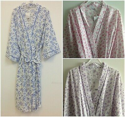 Ladies Long Poly Cotton Dressing Gown/Robe Uk Sizes 10-30 Various Colours