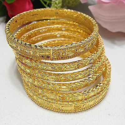 Indian Bollywood Style Gold plated 6 Bangles Set Size: (2.6)