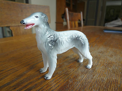 Small Vintage Gray White Porcelain Dog Figurine-BORZOI RUSSIAN WOLFHOUND