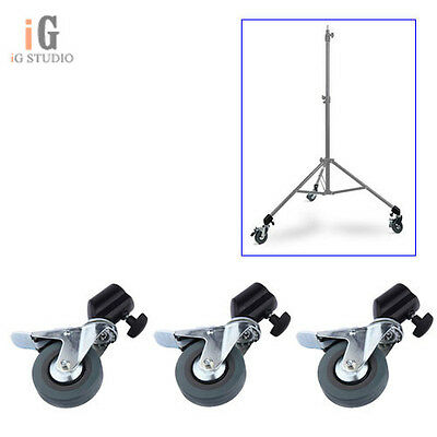 3PCS Photo Studio Heavy Duty Universal Caster Wheel Kit for Light Stands Boom