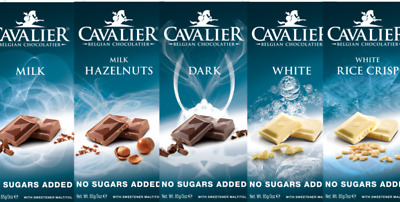Cavalier No Sugar Added  Inulin Low Carb  Belgian Chocolate Bars Ideal Gift