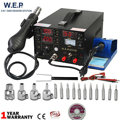 WEP 3 IN 1 Soldering Iron Rework SMD Solder Station Hot Air Gun DC Power Supply