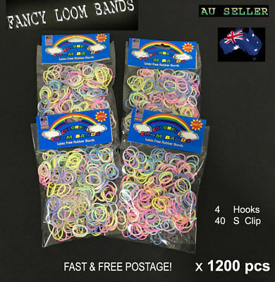 1200pcs(4x300) Color Loom Band Rubber Band Glow in the dark + free clips & Hooks