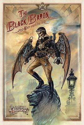 Black Baron, Steampunk Gothic Skull Lion, Alchemy Empire, Medium Metal Tin Sign