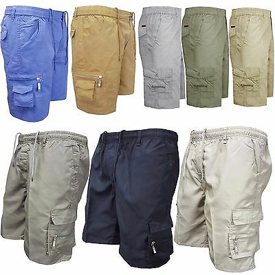 Mens Summer Elasticated Plain Shorts Cotton Lightweight Cargo Combat Pants 28-44