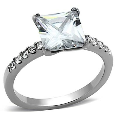 8x8mm Princess Cut Clear CZ Non Tarnish Stainless Steel Weddding Engagement Ring
