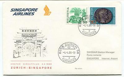 SINGAPORE AIRLINES FIRST flight to New York postcard set of 2 mint