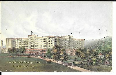 French Lick Indiana view of French Lick Springs Hotel antique USED pc (Y1859)
