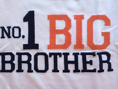 Boys No 1 Big Brother White Navy Shirt 4T 5 6 7 NEW NWT $16 S/S Nicely Stitched