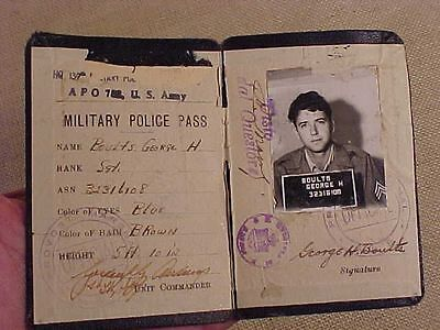 Original Scarce Wwii Us Mp Military Police Photo Id / Pass - 139Th Mp Co - Eto