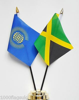 Commonwealth & Jamaica Double Friendship Table Flag Set
