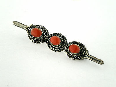 Spilla in argento 925 ecorallo rosso. Sterling silver brooch with red coral.