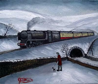 Snowy Train Spotting : Original Northern Art Oil Painting on Canvas  COSA