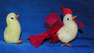 2 Adorable Vtg 1950's Made Japan Spun Cotton Wire Feet Googly Eyes Easter Chicks