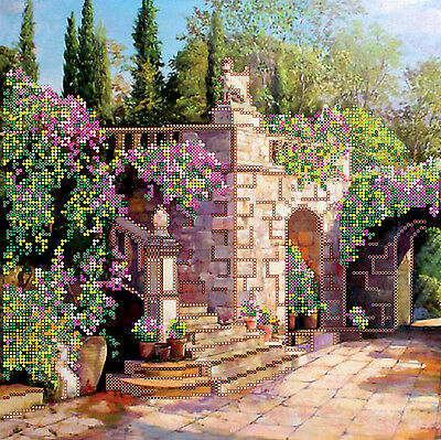 Beadpoint DIY kit Blooming Terrace Seed Beads Needlepoint Embroidery on Canvas