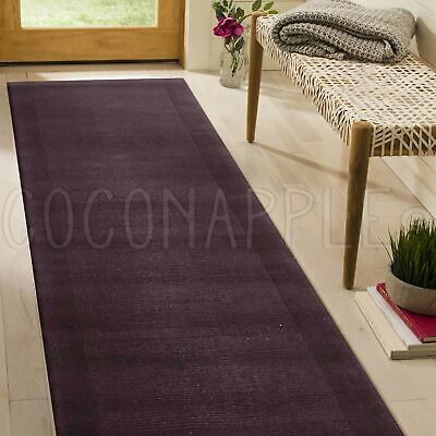 Oasis Thick Loomed Wool Purple Modern Floor Runner 80x400cm **FREE DELIVERY**