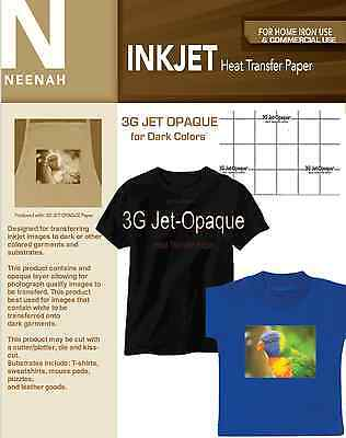 Neenah 3G Jet Opaque Heat Transfer Paper for Dark Colors 8.5x11 (25 sheets)