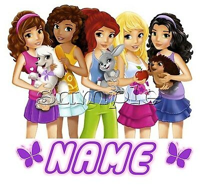 IRON on TRANSFER PERSONALISED (any 1st name)LEGO GIRL FRIENDS DOG RABBIT 14x13
