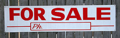 Large FOR SALE BANNER SIGN w/PHONE NO. Outdoor NEW