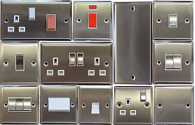 Brushed Chrome Plug Sockets And Light Switches (White Insert)