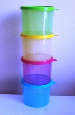 Brand New Tupperware 570ml Round Snack Canister Set (4)