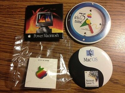  Apple advertising button Power Macintosh OS 7.5 rainbow color logo pin NEW 