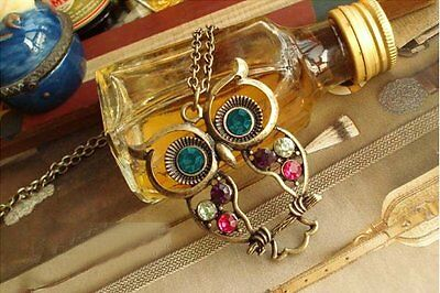 New Lovely Vintage Style Colourful Cute Owl Crystal Necklace UK Seller & Stock