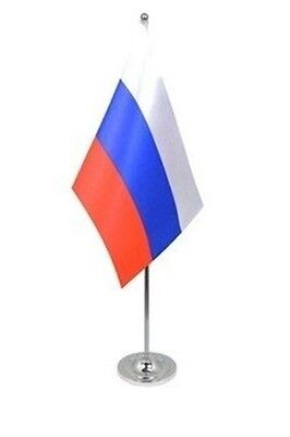 "RUSSIA DELUXE SATIN TABLE FLAG 9""X6"" CHROME POLE & BASE Stands 15"" RUSSIAN"