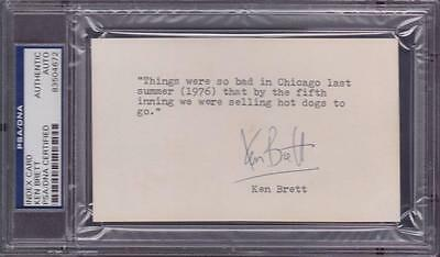 Ken Brett (d.2003) Signed 3x5 Index Card with Quote Autographed PSA DNA
