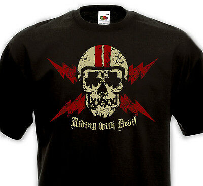Tee Shirt RIDING WITH DEVIL Cafe Racer Bikers Custom Culture Chopper Rock'n'Roll